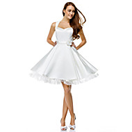TS Couture Cocktail Party Prom Dress - Short A-line Sweetheart Knee-length Satin with Buttons Flower(s)
