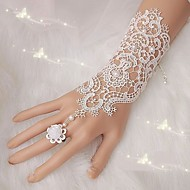 1Pair Fingerless Lace Wedding Gloves Free Shipping New Fashion White,Ivory Bride Bridal Gloves With Ring Bracelet