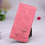 Sweet and lovely style small umbrella metal buckle matte leather long vertical section lady wallet card package wallet