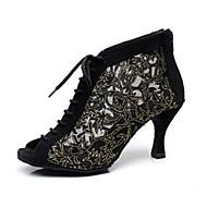 Niet Aanpasbare - Voor dames - Dance Schoenen ( Zwart / Blauw ) - met Uitlopende Hakken - en Latijn