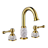 PHASAT® Deck Mounted Two Handles Three Holes in Ti-PVD Bathroom Sink Faucet