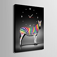 E-HOME® Colored Zebra Clock in Canvas 1pcs