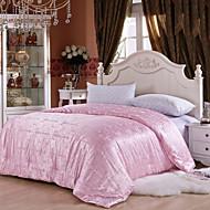Jacquard Hand Made Bedding 100% Natural Silk Quilt Spring/Autum Comforter Silk Net Weight 2000g White Pink Beige