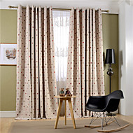 (Two Panels)Modern Colorful Spot Linen Polyester Blend Curtain(Sheer Not Included)