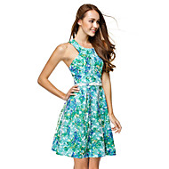 TS Couture Cocktail Party Dress - Print A-line Jewel Knee-length Chiffon
