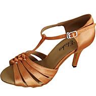 Na zakázku - Dámské - Taneční boty - Latina / Salsa - Satén - Podpatek na míru - Hnědá