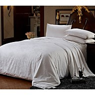 Cotton Jacquard Bedding 100% Silk Quilt Spring/Autum Comforter Silk Net Weight 1500g Four Sizes White / Pink / Beige