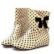 Women's Spring / Fall / Winter Rain Boots Patent Leather Casual Flat Heel Bowknot / Polka Dot Black / Green / Almond