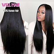 8-24inch color negro natural del pelo virginal brasileño silkly recta peluca llena del cordón con el pelo del bebé para las mujeres negras