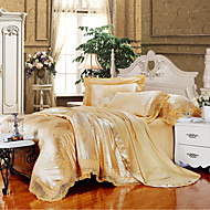 Pussilakanasetti setit Geometrinen 4 osainen Silk/Cotton Blend Jakardi Silk/Cotton Blend1 kpl pussilakana 2kpl torkkupeitteitä 1 kpl