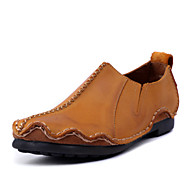 Men's Shoes Outdoor / Party & Evening / Casual Leather Oxfords Brown / Yellow / Khaki(Manual manufacture)