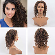 14inch 레이스 앞 머리는 여성을위한 100 % 인간의 머리 레이스 앞 물결 모양 스타일 인간의 머리 몽골어 처녀 머리 가발 가발