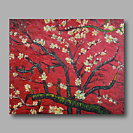 Ready to hang Stretched Hand-Painted Oil Painting Canvas Van Gogh repro Red Almond Blossom One Panel