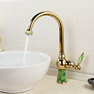 Contemporary Gold Color painting Brass Hot and Cold Single Handle Kitchen Faucet