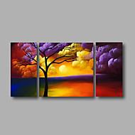Pintados à mão Paisagem / Floral/Botânico / Paisagens AbstratasModerno 3 Painéis Tela Pintura a Óleo For Decoração para casa