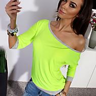 Rynkad Trekvartsärm T-shirt Kvinnors Rund hals Polyester