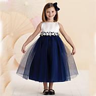 A-line Tea-length Flower Girl Dress - Tulle / Polyester Sleeveless