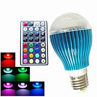 9W GU10 / B22 / E26/E27 Lâmpada Redonda LED A60(A19) 3PCS LED de Alta Potência 450LM lm RGB Regulável / Controle Remoto / DecorativaAC