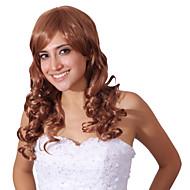 capless mix farve lange høj kvalitet naturlige krøllet hår syntetisk paryk med fuld bang