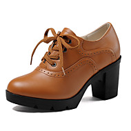 Women's Shoes Leather Chunky Heel Heels / Platform / Round Toe / Closed Toe Heels Dress Black / Brown / Beige