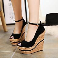 Women's Shoes Fleece Wedge Heel Peep Toe Heels Dress Black