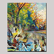 Ručno oslikana Sažetak Pejzaž Vertikalno,Moderna Rustikalni Jedna ploha Platno Hang oslikana uljanim bojama For Početna Dekoracija