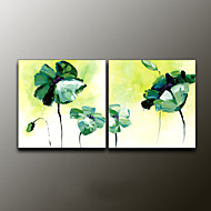 Hand-Painted Floral/BotanicalModern Two Panels Canvas Oil Painting For Home Decoration