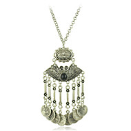 Fashion Jewelry Retro Boho Style Vintage Silver Plated Coins Tassel Pendant Necklace for Women