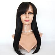Cordón del virgen 100% pelucas de cabello humano brasileño con flequillo atan la peluca recta peluca llena del cordón frontal para mujer