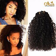 3b, 3c verworrene lockige Klipps in der Menschenhaarverlängerung 7pcs peruanische verworrenes lockiges Haar 6a Haarspange in natürlichen