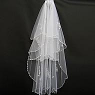 Wedding Veil Two-tier Blusher Veils / Fingertip Veils Beaded Edge Tulle White / Ivory