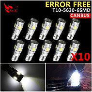 10x cuneo canbus T10 bianco 192 168 194 W5W 6 5630 smd led errore lampadina luce 12v gratis