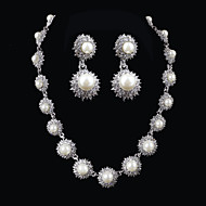 Elegant Design Alloy With Rhinestone And Pearls Wedding/Special Occaision / Party Jewelry Set.