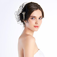 Black Chiffon With Rhinestones Wedding Bridal Headpiece