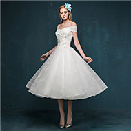 A-line Wedding Dress Tea-length Off-the-shoulder Lace with Appliques / Beading / Sequin