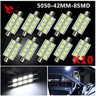 10 X White 41MM 5050 8SMD Festoon Dome Map Interior LED Light bulbs DE3423 6418