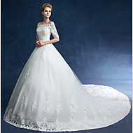 Ball Gown Wedding Dress Chapel Train Off-the-shoulder Tulle with Lace