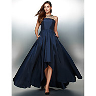 TS Couture® Formal Evening Dress - Ink Blue A-line Jewel Asymmetrical Taffeta
