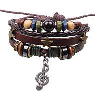 Men's Leather Weave Adjustable Bracelet with Music Pendant