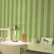 New Rainbow™Stripe Wallpaper Contemporary Wall Covering , Velvet Flocked Vertical Striped Wallpaper