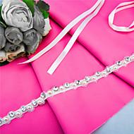 Faixa Cetim Faixas para Mulheres Casamento / Festa/Noite / Dia a Dia Miçangas / Pérolas / Pedraria