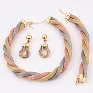 Gold-plated Fashion romantic heart line(Including Necklace, Earring, Bracelet) Jewelry Sets