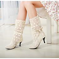 נעלי נשים - מגפיים - טול - מעוגל / מגפי אופנה - שחור / חום / לבן - משרד ועבודה / שמלה - עקב גביע