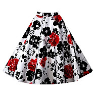 Women's Print Red / White / Black / Brown / Purple / Multi-color Skirts Knee-length