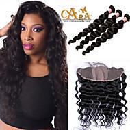 13x4 frontal base de seda con haces de ondas sueltas el pelo virginal brasileño con cierre frontal del cordón de cierre 6a con paquetes