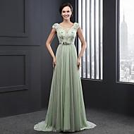 Formal Evening Dress - Sage Ball Gown Jewel Sweep/Brush Train Chiffon