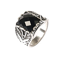 Men's Fashion Domineering Exaggerated Style Square Multi-section Alloy Agate Inlaid Rings-02