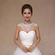 Wedding  Wraps Collars Sleeveless Lace Ivory Wedding Crystal / Pearls