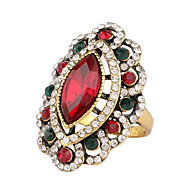 Women's Noble Exaggerated Luxury Style Rugby-shaped Three-Dimensional Hollow Diamond Colored Gemstone Alloy Ring