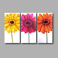 "Ready to Hang Hand-Painted Oil Painting Canvas Three Panels 48""x32"" Wall Art Contempory Abstract Orange Yellow Pink"